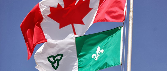 Franco-ontarien and Canadian Flags
